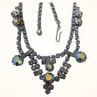 "Mid-Century Vintage Blue Rhinestone 16"" Necklace"