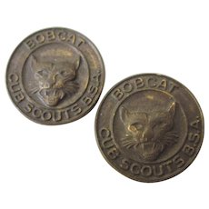 Pair of Vintage Bobcat Cub Scouts Pins.