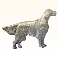 Vintage Hunting Dog Retriever Pin, Pewter or Silvertone, Right Facing