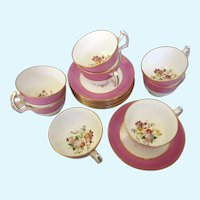Piece 1912-39 Hammersley & Co. Bone China, Set of Eight Cups and Saucers