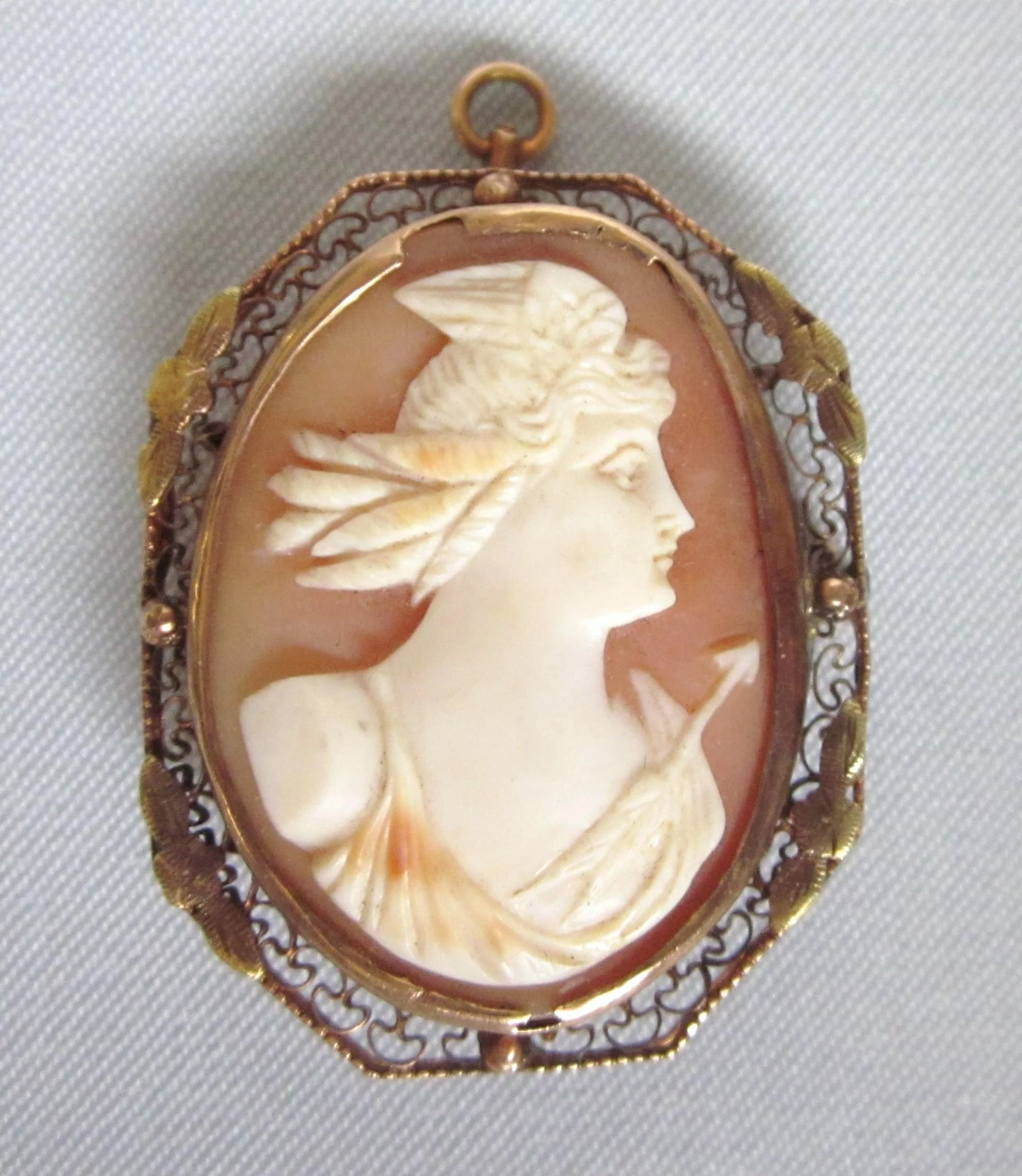 da1ef6f175e2a Antique 10K Gold Cameo of Nike Diana Huntress Goddess, Brooch Pendant