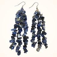 """Blue Sodalite Chip Gemstone 4"""" Long Dangle Pierced Earrings - Shoulder Duster"""