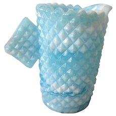 Vintage Aqua Blue Slag Glass Small Creamer