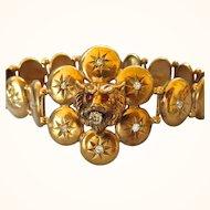 Magestic Victorian 9K Gold Diamond and Ruby Hinged Lion Bracelet. Diamond .85 TCW