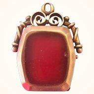 Antique 10K Rose Gold Onyx Carnelian Watch Fob Pendant
