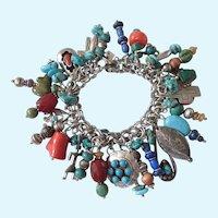 Spectacular Loaded Sterling Southwestern Charm Bracelet, 101.8 Grams