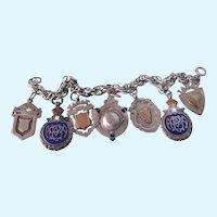 Rare Antique English Sterling Cobalt Enamel Medal Fobs Bold Charm Bracelet