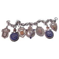 Antique English Sterling Cobalt Enamel Medal Fobs Bold Charm Bracelet