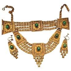 Oppulent Sterling Gold Overlay Etruscan Full Parure, Israel, Necklace, Bracelet, Earrings