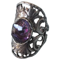 SALE!  Spectacular Sterling Saddle Ring With Purple Stone, Size 7-1/2