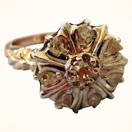 SALE!  Regal Georgian 14K and Silver Rose Cut Diamond Ring