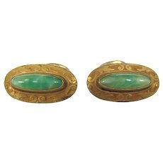 Art Nouveau Gold Filled Peking Glass Barbell Cufflinks