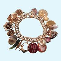 Fabulous, Loaded Vintage Gold Filled Charm Bracelet, 24 Charms, 78 Grams!