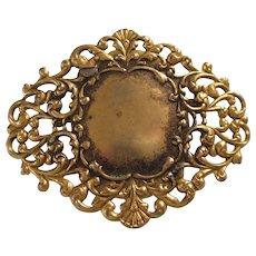 Vintage Signed Freirich Goldtone Filigree Ornate Brooch