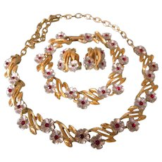 Vintage Parure - Floral Design Necklace, Bracelet and Clip Back Earrings - With Red Rhinestones....Unsigned Beauties