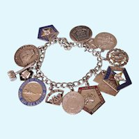 Loaded Vintage Sterling 1960's/70's Eastern Star OES Loaded Charm Bracelet, Large Enamel Charms, 58.2 Grams