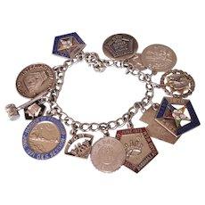 Vintage 1960's/70's Eastern Star OES Loaded Charm Bracelet, Large Enamel Charms, 58.2 Grams