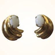Vintage Faux Opal Gold Plated Pierced Earrings