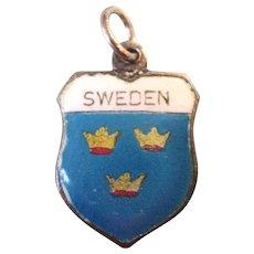 Vintage Sterling Enamel Sweden Travel Shield Charm