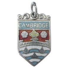 Vintage Sterling Cambridge England Enamel Shield Charm