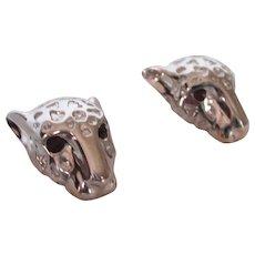 Elegant 14K White Gold Panther Pierced Earrings With Garnet Eyes, 4.6 Grams