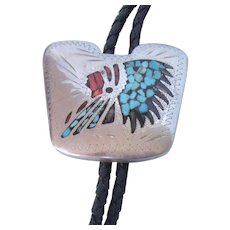 Vintage Native American Indian Chief Bolo Tie, Crushed Turquoise and Coral