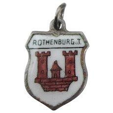 Vintage Rothenburg Germany 800 Silver Travel Shield Charm