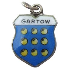 Gartow Germany Vintage 800 Silver Enamel Travel Shield Charm