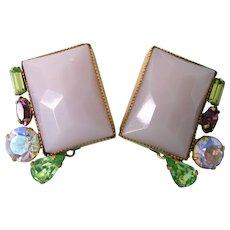 Fabulous Hobe Glass and Rhinestone Mid-Century Clip Earrings