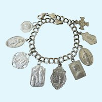 Vintage Sterling Bracelet With 9 Old Metal Religious Medals, Italy, France