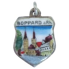 Boppard Boppart Germany Signed 800 Silver Enamel Travel Shield Charm