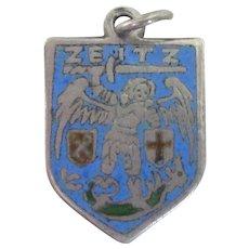 Zeitz Germany Vintage 800 Silver Enamel Travel Shield Charm