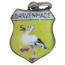 Gravenhage Netherlands Hague 835 Silver Enamel Shield Charm
