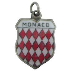 Monaco 800 Silver Enamel Travel Shield Charm