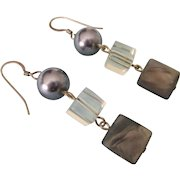 Sterling, Crystal and Gray Mother of Pearl Dangle Pierced Earrings