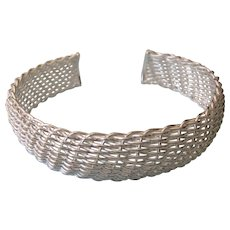 Sterling Woven Mesh Cuff Bracelet, 21.0 Grams