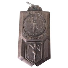 Vintage Track Sports Medal Pendant, Kansas State High School Regional Championships