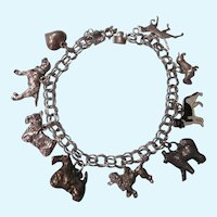 Sterling Dog Lover's Chunky Theme Charm Bracelet, One of a Kind!