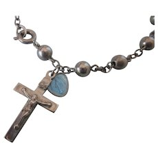 Vintage Sterling Cross and Medal Charm on Silverplated Bead Bracelet