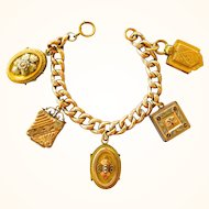 Exquisite Victorian Gold Filled Chunky Locket Fob Charm Bracelet, Rare Charms - One of a Kind