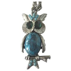 FINAL CLEARANCE   Vintage Owl Pendant Necklace, Silvertone With Faux Turquoise