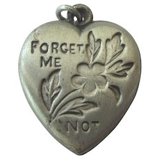 Vintage Sterling Forget Me Not Puffy Heart Charm