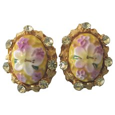 Signed Alice Caviness Floral Enamel and Rhinestone Clip Back Earrings