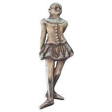 Vintage Sterling Signed de Matteo H&H Large Brooch, Degas Ballerina Design