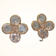 Vintage Clear Bezel Crystal Cluster and Rhinestone Clip Back Goldtone Earrings