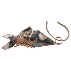 Vintage Enamel Articulated Koi Fish Pendant on Chain