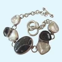Vintage Signed Sterling and Black Druzy and Mother of Pearl Geometric Bracelet