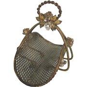 Charming Old Miniature Metal Gathering Basket