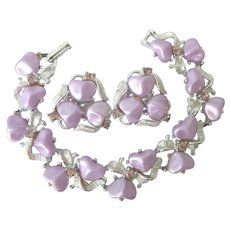 Heavenly Vintage Lavender Silvertone Bracelet and Clip Earrings With Citrine Rhinestones