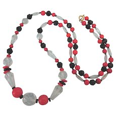 """Vintage Red, Black and Glass Faceted Glass Bead 26"""" Necklace"""